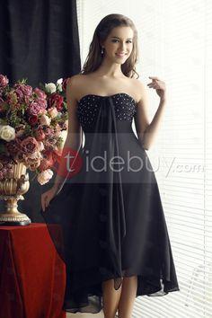 Hermoso Vestido de Dama de Honor Beading Línea A Largo a las Rodillas Escote Corazón Sandra's (Envío Gratuito)