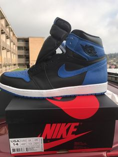 Here they are. Happy to say they are fucking beautiful so well made. The color blue pops in the sun. These are so dope. #flexin #jordan1 #royal1's