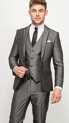 Harry Brown Skinny Silver Three Piece Mens Suit // Slater Menswear AW15 // Suits for Wedding Guests Suits for Grooms