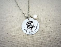 Live Love Heal - RN Hand Stamped Pendant Necklace