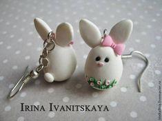 Eu Amo Artesanato: Brinco de coelhinho de biscuit Cute Earrings - step by step phototutorial