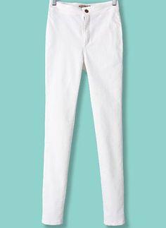 White High Waist Elastic Slim Pant 20.00