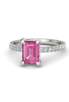 An emerald-cut pink sapphire engagement ring in platinum by @gemvara | Brides.com