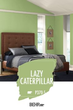 A brand new wall color is a quick and easy way to freshen up your home for the new decade. If you're looking for a vibrant choice, turn to BEHR® Paint in Lazy Caterpillar. This green hue is fresh, exciting, and fun. Click below for full color details.