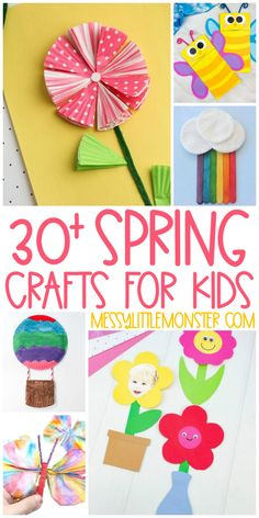 30 Spring crafts for kids. Butterfly crafts, flower crafts, rainbow crafts and bird crafts! Frog Crafts, Bird Crafts, Butterfly Crafts, Flower Crafts, Creative Arts And Crafts, Crafts For Kids To Make, Craft Activities For Kids, Activity Ideas, Spring Toddler Crafts