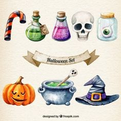 Hand painted halloween set