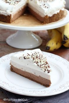 Banaani- šokolaadikook Cheesecake, Desserts, Food, Cheesecake Cake, Postres, Deserts, Cheesecakes, Hoods, Meals