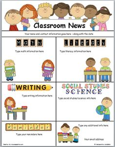 """A cute newsletter word document template.   Each area has a text box, so you can type your """"news"""" and information. Math, Literacy, Writing, Social Studies, Science and Reminders, all have an editable text box on the template.  The graphic headers are non-editable  If you like this format and are interested in """"personalizing"""" or changing an area, feel free to contact me."""