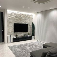 lounge モノトーン モノトーンインテリア 石壁 壁タイル - The world's most private search engine False Ceiling Living Room, Ceiling Design Living Room, Tv Wall Design, Home Room Design, Living Room Interior, Home Living Room, Home Interior Design, Design Case, Living Room Brick Wall