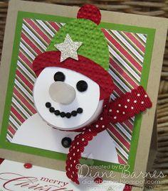 Stampin Up Weihnachtsschneemann Teelicht Staffelei Karte von Di Barnes - colourmehappy #stampinup #colourmehappy #Christmas
