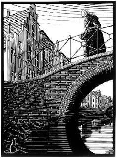 "Skot Foreman Gallery M. Escher ""Scholastica (The Bridge)"" 1932 Woodcut 9 x 6 in 23 x 17 cm from the intended edition of 300 Initialed ""MCE"" in the plate lower right corner Bool 199 © The M. Escher Company B. Escher Kunst, Escher Art, Mc Escher, Escher Prints, Willy Ronis, Diego Rivera, Scratchboard, Art Database, Dutch Artists"