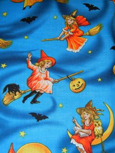 1 yard cotton 43 Width More available - just request a custom listing for how much you need and I will check my stash! Halloween Fabric, Vintage Halloween, Blue Orange, Printed Cotton, Retro Vintage, Witch, Cotton Fabric, Fabrics, Pumpkin