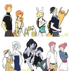 A picture of all them gender swapped Marshall Lee Adventure Time, Adventure Time Anime, Cartoon Games, Cartoon Shows, Adventure Time Fanfiction, Marshall Lee X Prince Gumball, Abenteuerzeit Mit Finn Und Jake, Marceline And Bubblegum, Jake The Dogs