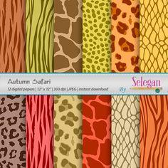Autumn Safari Digital  Scrapbooking Paper 12x12 by Selegan on Etsy Download Here:- https://www.etsy.com/listing/249984523
