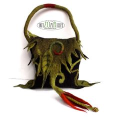 Hand felted jungle handbag  bag handmade ready to by Wizuarion, $160.00