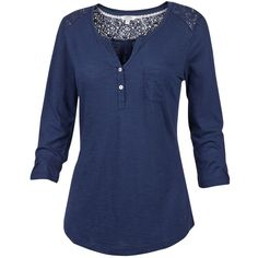 Fat Face Lace Insert Henley T-Shirt , Indigo ($39) ❤ liked on Polyvore featuring tops, t-shirts, indigo, blue t shirt, round neck t shirt, blue moose tees, women tops and lightweight t shirts