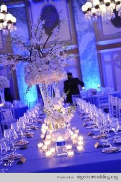 #blue  #wedding reception ... Wedding ideas for brides, grooms, parents & planners ... https://itunes.apple.com/us/app/the-gold-wedding-planner/id498112599?ls=1=8 … plus how to organise an entire wedding, without overspending ♥ The Gold Wedding Planner iPhone App ♥