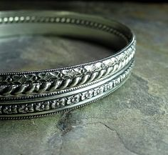 Sterling Silver Stacking Bangles  English Country Garden  ...... from Lavender Cottage on Etsy