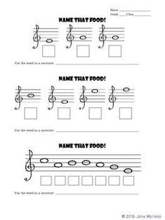 Spelling Foods with Music Notes on Treble Clef