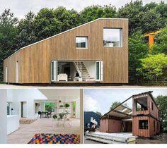 Casa hecha con contenedores y revestida con madera de palets