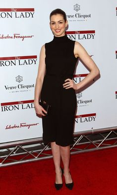 """Anne Hathaway attends the """"The Iron Lady"""" New York premiere at the Ziegfeld Theater on December 13, 2011 in New York City."""
