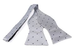 Bow Tie Untied by OTAA - The fabric is designed with navy blue spread out polka dots upon a canvas of light grey which complements each other resulting in a distinguished, finished look. Purchase Bow Ties from www.otaa.com.au | Shipping World Wide  | Only $20 AUD