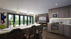 """<ul><li>This modern house plan design gives you """"big"""" living in a small space and not a square foot is wasted in this elegant and affordable home design. </li><li>The media wall in the great room holds all your stuff and a huge monitor as well. There is enough room for two gathering spaces OR a large dining room table. </li><li>The kitchen itself has more then enough storage, utility and a built-in eating bar. </li><li>T..."""