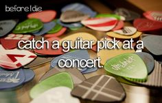 Catch a guitar pick at a concert (Completed) It was my favorite band at the time too!