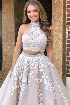 2018 Hot Sexy Two-Piece High Neck Tulle Long Prom Dress with Appliques Cheap