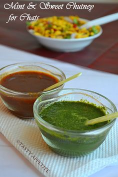 Tasty Appetite: How to make Green Chutney & Sweet Chutney for Chats : ( Mint Chutney ) / ( Date & Tamarind Chutney ) / Chutneys for Chats: