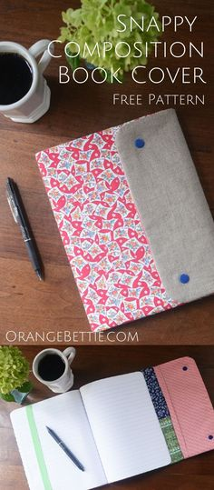 Composition Book Cover - FREE PATTERN Free pattern for making a Snappy Composition Book Cover!Free pattern for making a Snappy Composition Book Cover! Easy Sewing Projects, Sewing Hacks, Sewing Tutorials, Sewing Crafts, Sewing Tips, Diy Projects, Furniture Projects, Furniture Plans, Sewing Ideas
