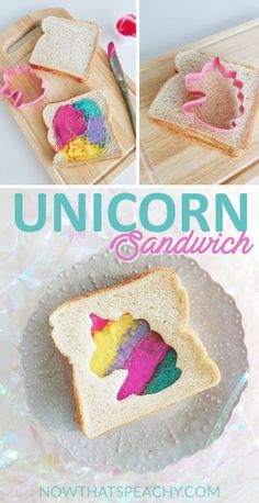 How to make Unicorn Rainbow Sandwiches for a magical girls party, school lunches for those fussy eaters or cute food for baby showers and high teas Unicorn Themed Birthday Party, Tea Party Birthday, Birthday Treats, Teen Birthday, Birthday Party Food For Kids, Rainbow Unicorn Party, Birthday Recipes, Unicorn Foods, Unicorn Diys