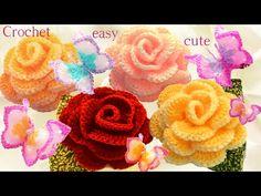 Aprende como tejer a Crochet Mariposas flores rosas 3D en una tira con hojas - YouTube