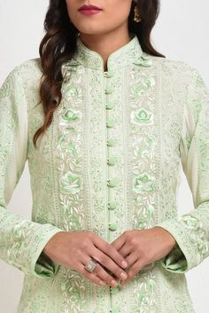 Ivory-Green Resham Chikankari Parsi Gara & Kamdani Jacket With Skirt Designer Dress For Men, Indian Designer Suits, Designer Dresses, Choli Blouse Design, Kurta Neck Design, Dress Neck Designs, Blouse Designs, Green Color Combination Dresses, Stitching Dresses