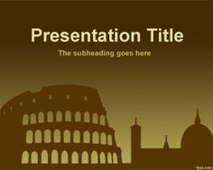 Free Rome PowerPoint Template with sepia and dark background style for Italy presentations