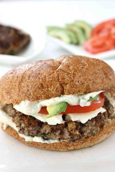 CuisineNie: Black Bean Burger Recipe with Cilantro-Lime Mayo