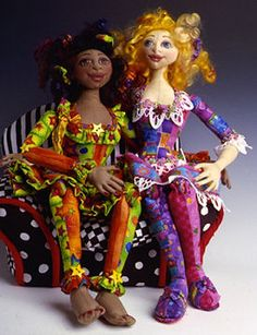 dominque and lesley cloth art dolls by patti culea