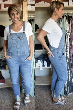 Over Alls  Trend-setters, these are for you! Hem and knee distressed high-rise denim overall. Soft and lightweight for Spring temps.   Light wash.  Runs true to size. Brandi wears size 30 waist jeans and is wearing a size L here.   98% cotton/ 2% spandex