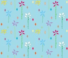 abstract-flowers-in-blue fabric by lonna_jordan on Spoonflower - custom fabric
