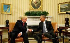 Πρώτη συνάντηση Τραμπ - Ομπάμα. Εξαιρετική χαρακτήρισε τη συνάντησή του με τον εκλεγμένο νέο πρόεδρο των ΗΠΑ Ντόναλντ Τραμπ στον Λευκό Οίκο ο απερχόμενος πρόεδρος της χώρας Μπαράκ Ομπάμα. Ο κ. Τραμπ, από την πλευρά του, δήλωσε ότι επιθυμεί να έχει και άλλες συναντήσεις με τον απερχόμενο πρόεδρο το προσεχές διάστημα και να συνεργαστεί μαζί του καθ
