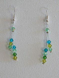 boucles d'oreilles toupies cristal swarovski dégradé de vert €5.50