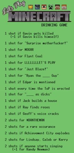 Achievement Hunter Drinking Game: Let's Play Minecraft - aka how to get drunk! Play 1, Lets Play, Roster Teeth, Just Blaze, Achievement Hunter, How To Play Minecraft, Stuff And Thangs, Drinking Games, Rwby