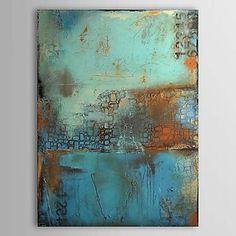 Oliemalerier et panel vintage abstrakt blå farve håndmalede lærred klar til at hænge - DKK kr. 385