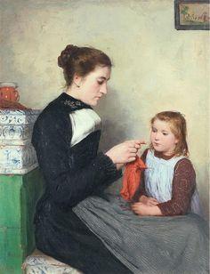 Albert Anker Knitting Bernese woman with child