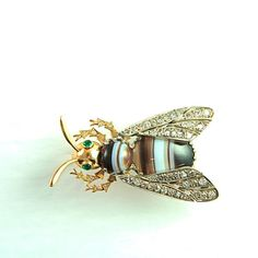 Unusual Art Deco Diamond and Banded Agate Bee Brooch, circa 1930