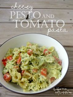 Cheesy Pesto and Tomato Pasta: A creamy, cheesy pasta made with homemade basil pesto and tossed with garden-fresh tomatoes!