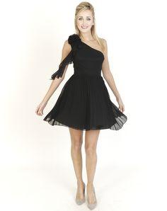 Black Dresses - Pleated Corsage One Shoulder Black Dress - http://www.blackdresses.co.uk