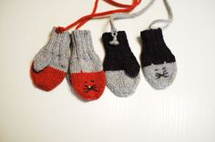 Cat Mittens for Boys and Girls - Soft warm Baby Alpaca - 18 to 36 month - Todler Kids -  Violet Grey - Made to order - Cats Friends