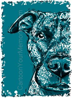 """All of my paintings are created in high resolution on my computer. They are printed on photo glossy paper so you can get the best color and quality. Sizes up to 8.5x11"""" will be mounted on a backing an Pitbull Facts, Pitbull Pictures, Pitt Bulls, Dog Shaming, Pit Bull Love, Pitbull Terrier, Beautiful Dogs, Dog Art, Mans Best Friend"""