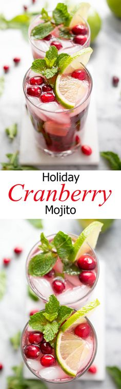 Holiday Cranberry Pomegranate Mojito made with fresh mint, cranberry reduction, pomegranate juice and fresh lime. Perfect cocktail for the holidays! Pomegranate Mojito, Pomegranate Recipes, Fun Drinks, Yummy Drinks, Alcoholic Drinks, Drinks Alcohol, Beverages, Christmas Cocktails, Holiday Cocktails